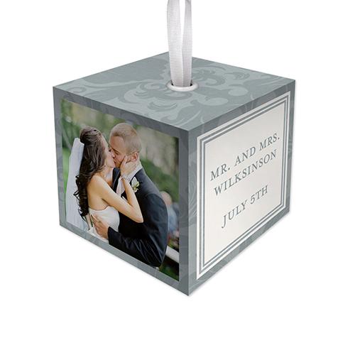 Damask Wedding Cube Ornament, Grey, Cube