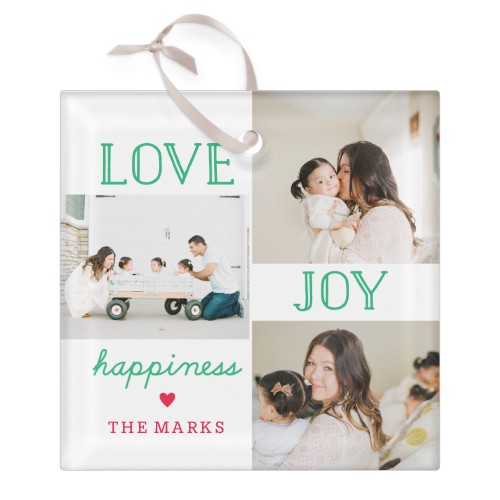 Love Joy Happiness Collage Glass Ornament