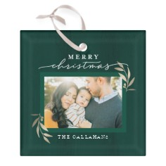 evergreen christmas glass ornament