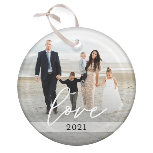 Scripted Love Glass Ornament