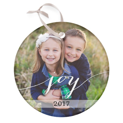 Joy All The Way Glass Ornament, White, Circle