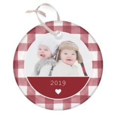 gingham heart glass ornament