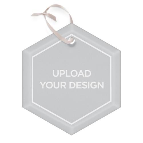 Upload Your Own Design Glass Ornament, Multicolor, Hexagon