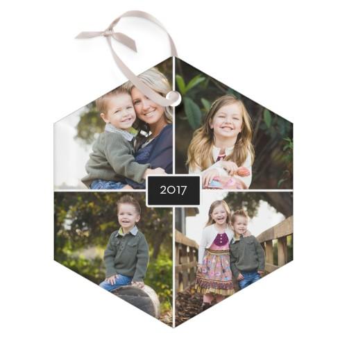 Wonderful Year Glass Ornament, Black, Hexagon
