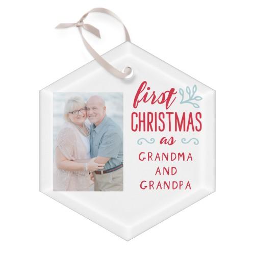 Grandparents First Christmas Glass Ornament, White, Hexagon