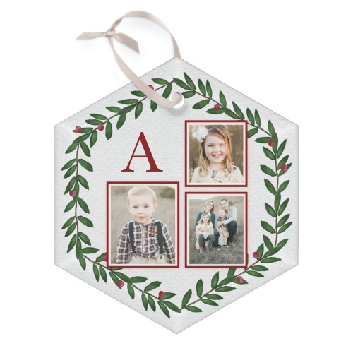 Monogram Foliage Glass Ornament, Green, Hexagon