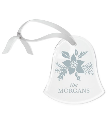Holiday Poinsettia Etched Glass Ornament