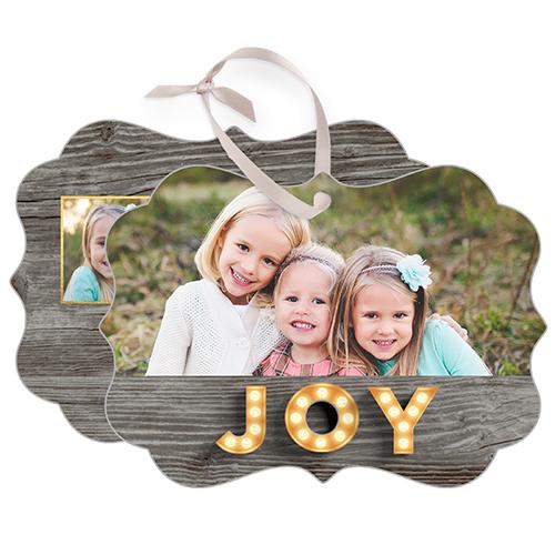 Photo Real Joy Metal Ornament, Brown, Rectangle_Bracket