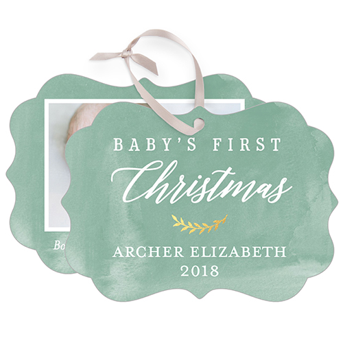 Baby's First Watercolor Snowflake Metal Ornament, Green, Rectangle_Bracket
