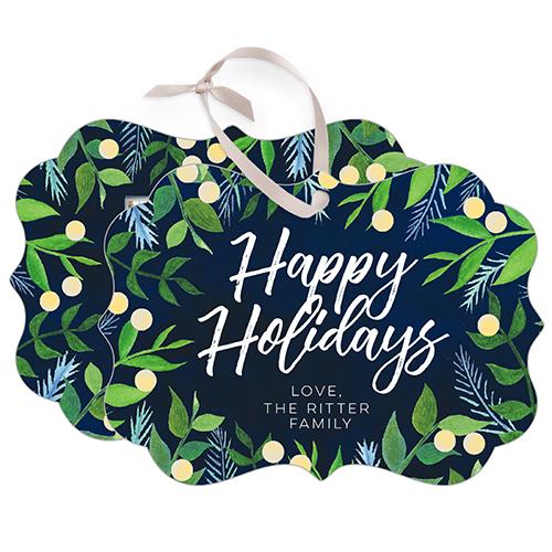 Foliage Holiday Snowflake Metal Ornament, Blue, Rectangle_Bracket