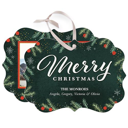 Merry Foliage Snowflake Metal Ornament, Green, Rectangle_Bracket