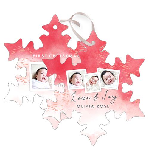 Watercolor Joy Metal Ornament, Pink, Snowflake