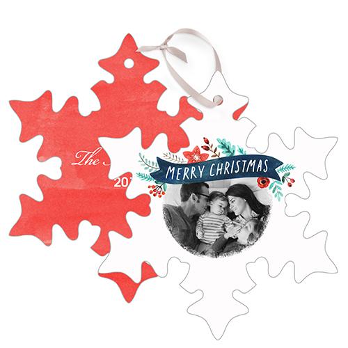Christmas Banner Metal Ornament, Red, Snowflake