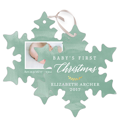 Baby's First Watercolor Snowflake Metal Ornament, Green, Snowflake
