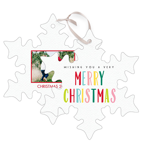 Colorful Christmas Snowflake Metal Ornament, White, Snowflake