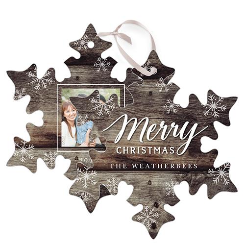 Rustic Snowflake Snowflake Metal Ornament, Brown, Snowflake