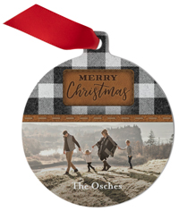leather patch plaid metal ornament