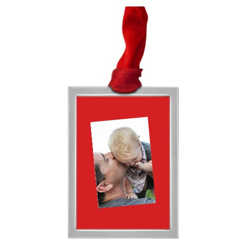 Tilty Framed Vertical Pewter Ornament, Blue, Rectangle