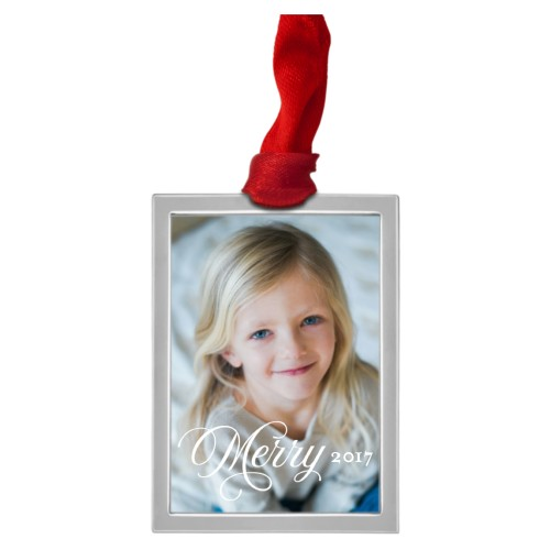 Merry Script Pewter Ornament, White, Rectangle