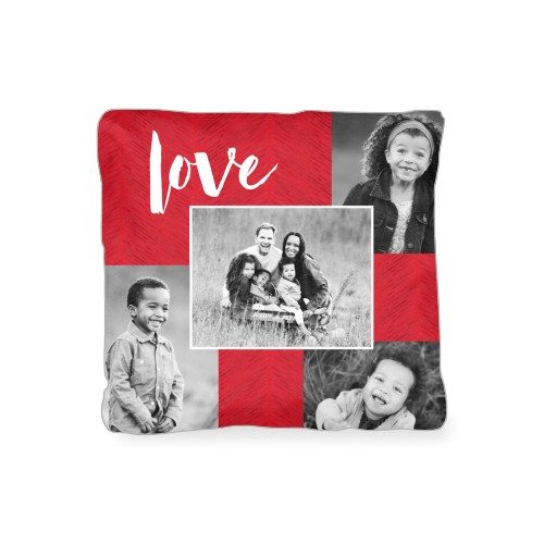 Love Texture Collage Outdoor Pillow, Pillow (Taupe), 16 x 16, Single-sided, Red
