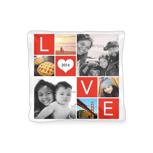 LOVE Collage Outdoor Pillow, Pillow (Navy), 16 x 16, Single-sided, Red