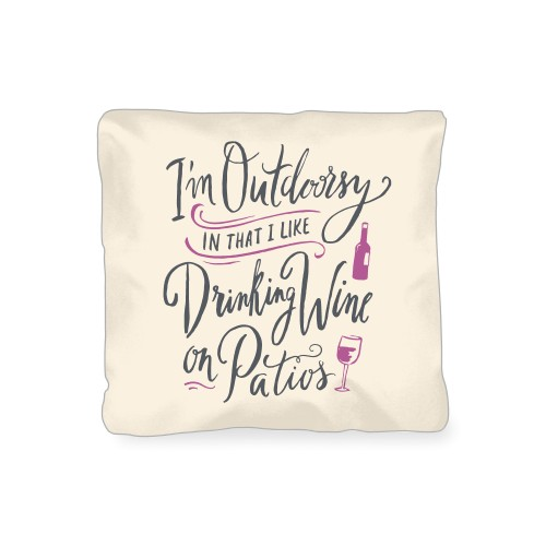 I'm Outdoorsy Outdoor Pillow, Pillow (Ivory), 16 x 16, Single-sided, Beige