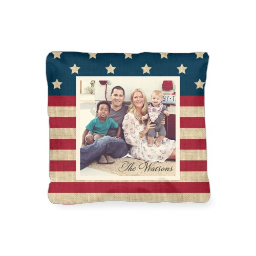 Rustic Flag Outdoor Pillow, Pillow (Black), 16 x 16, Single-sided, Red