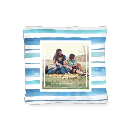 Organic Stripes Watercolor Outdoor Pillow, Pillow (Black), 16 x 16, Single-sided, Blue
