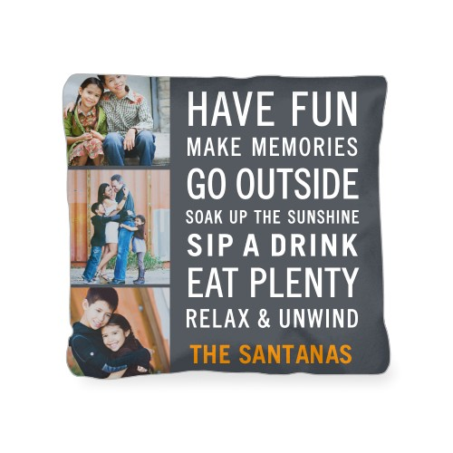 Have Fun Type Outdoor Pillow, Pillow (Navy), 18 x 18, Single-sided, Grey