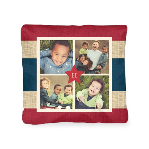 Star Collage Outdoor Pillow, Pillow, 18 x 18, Double-sided, Red