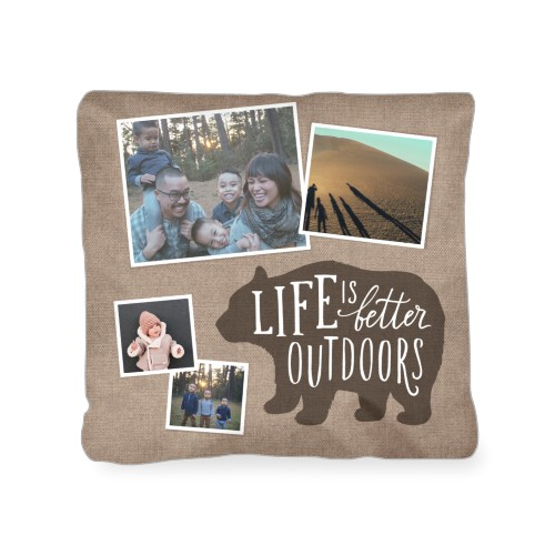 Bear Outdoor Pillow, Pillow (Taupe), 18 x 18, Single-sided, Brown