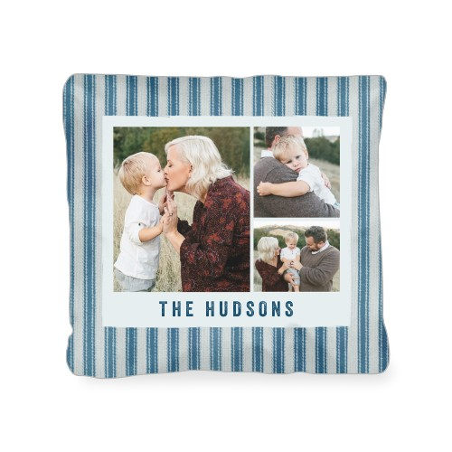 Ticking Stripe Collage Outdoor Pillow, Pillow, 18 x 18, Double-sided, Blue