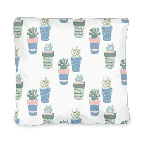 Multi Succulent Outdoor Pillow, Pillow (Ivory), 20 x 20, Single-sided, Multicolor
