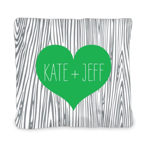 Heart And Woodgrain Outdoor Pillow, Pillow (Ivory), 20 x 20, Single-sided, DynamicColor