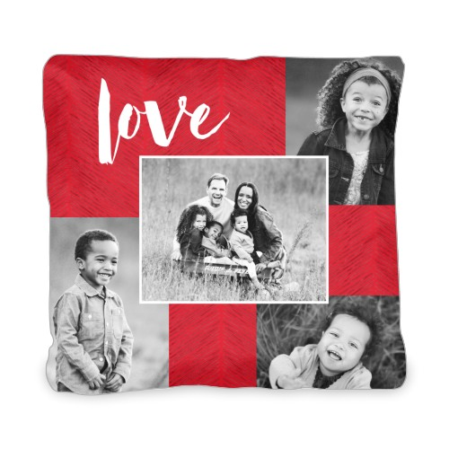 Love Texture Collage Outdoor Pillow, Pillow (Taupe), 20 x 20, Single-sided, Red