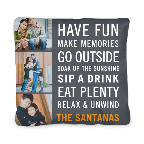 Have Fun Type Outdoor Pillow, Pillow, 20 x 20, Double-sided, Grey