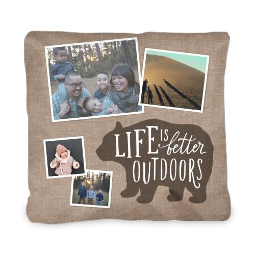 Bear Outdoor Pillow, Pillow (Navy), 20 x 20, Single-sided, Brown