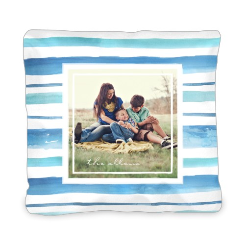 Organic Stripes Watercolor Outdoor Pillow, Pillow (Black), 20 x 20, Single-sided, Blue
