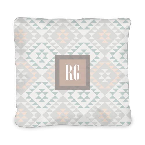 Aztec Monogram Outdoor Pillow, Pillow, 20 x 20, Double-sided, Grey