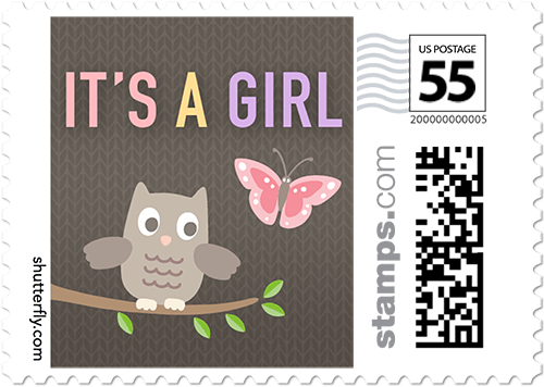 Adorable Owl Personalized Postage Stamps
