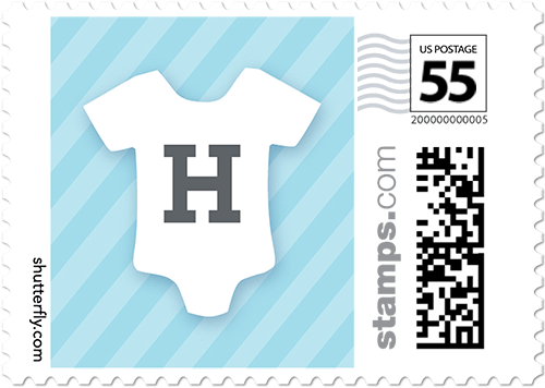 Onesie Monogram Small Personalized Postage Stamps