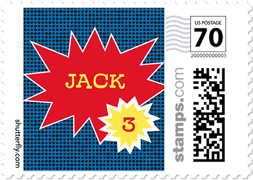 Super Hero Name Personalized Postage Stamps