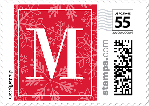 7c1b5905126 Monogram Snow Small Personalized Postage Stamps