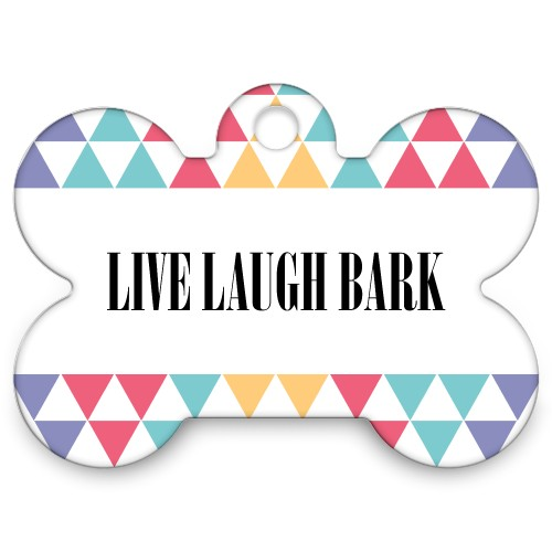 Bold Pattern Bone Pet Tag, White