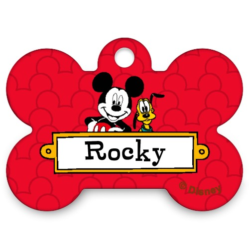 Disney Mickey Mouse Bone Pet Tag, Red