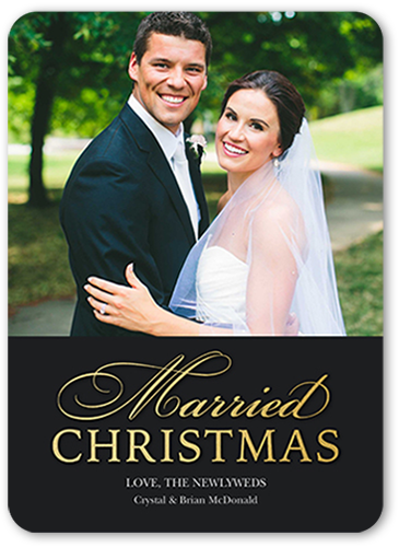 Merrily Married Christmas Card, Rounded Corners