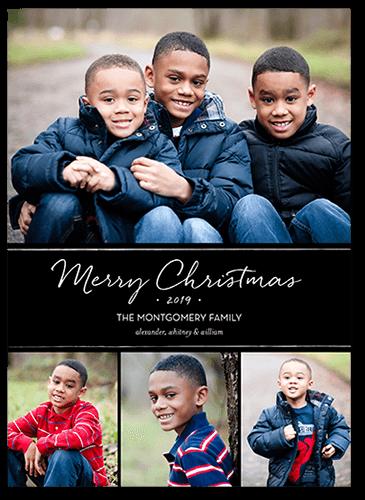 Basic Festive Banner Christmas Card, Square Corners