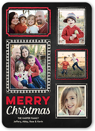 Chalked Frames Christmas Card, Rounded Corners