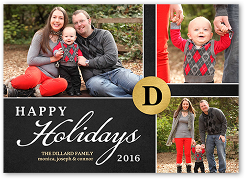 Golden Monogram Holiday Card