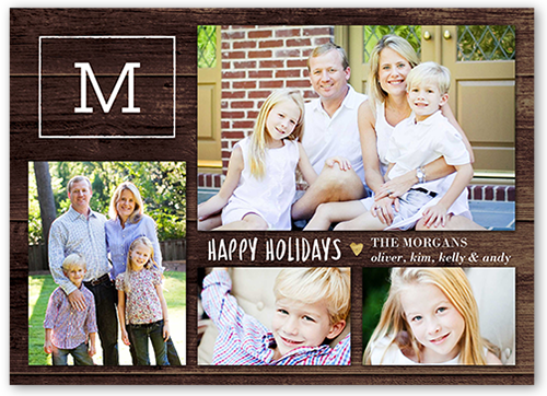 Lovely Modern Monogram Holiday Card, Square Corners